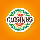 Ethnic cuisines restaurant badge — Stock Vector
