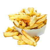 Belgian french fries isolated on white — Stock Photo