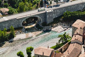 Aerial view of river and bridge in french town Entrevaux. — Stock Photo