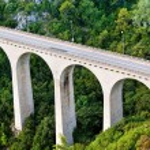 Bridge in the Eze Sur Mer. Cote de azure. Bright day in Europe. — Stock Photo #49989845