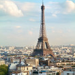 View on the Eiffel Tower from Triumphal Arch. France, Paris. — Stock Photo #50362805