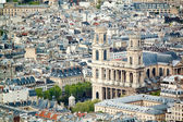 Panoramic view on Church of Saint-Sulpice from Montparnasse Tower, Paris. France, Europe. — Stock Photo