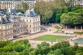 Panoramic view on Luxembourg Gardens from Montparnasse Tower, Paris. France, Europe. — Stock Photo