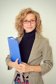 Businesswoman with folder — Stock Photo