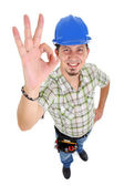 Carpenter showing OK sign — Stock Photo