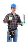 Construction Worker with Laptop — Stock Photo