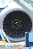 Forward part of the engine of the Boeing-737 plane — Stock Photo