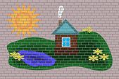 House on a brick wall — Vector de stock