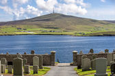 Shetland Landscape with cemetery — Stock Photo