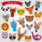 Animals muzzles — Stock Vector #51246505
