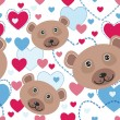 Seamless pattern with funny bears with pink and blue hearts — Stock Vector