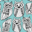 Owls Sketch Doodle pattern — Stock Vector