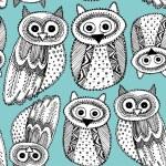 Owls Sketch Doodle pattern — Stock vektor