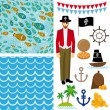 Pirate collection background — Stock Vector #51247025