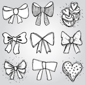 Bows, hearts, cupcakes sketch — Stock Vector