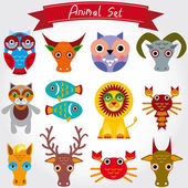Animals art collection — Stock Vector