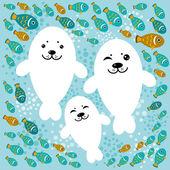Polar walrus illustration — Stock vektor