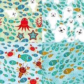 Aquarium animals pattern — Stock Vector