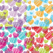 Purple watercolor hearts — Stok Vektör