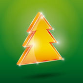 Golden Christmas fir tree — Vetorial Stock