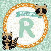 R is raccoon. — Stock Vector