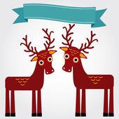 Funny brown deers — Stock Vector