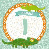I is iguana. — Stock Vector