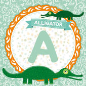 A is alligator. — Stock Vector