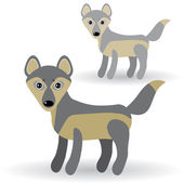 Funny gray wolves — Stock Vector