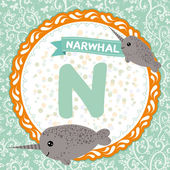 N is narwhal. — Stock Vector