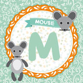 Animal ABC M letter is mouse. — Vettoriale Stock