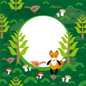 Fox in green forest — Wektor stockowy