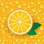 Naranja con hojas verdes — Vector de stock