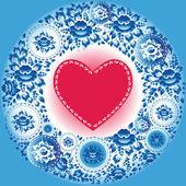 Corazón rojo y las flores azules. — Vector de stock