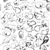 Black cats sketch — Stock Vector