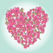 Beautiful pink pansy heart — Stock Vector