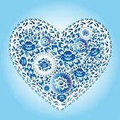 Romantic blue flowers heart — Stock Vector