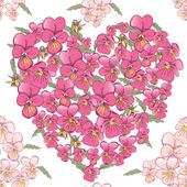 Pink heart of pansies — Stock Vector