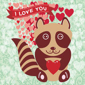 Cute raccoon with red heart. — Stock Vector