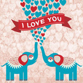 Elephants in love. — Stock Vector