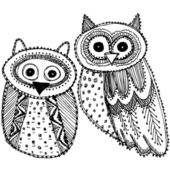 Cute Owls Sketch — Vettoriale Stock