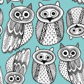 Owls Sketch Doodle pattern — Stock Vector