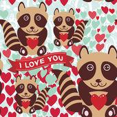 Lovely cartoon raccoons — 图库矢量图片