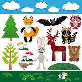 Funny set of cute wild animals — Stock Vector