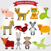 Chinese funny animals — Stock Vector