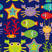 Marine animals Seamless pattern — Vettoriale Stock