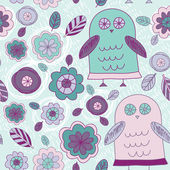 Owls with leaves and flowers. — Stock Vector