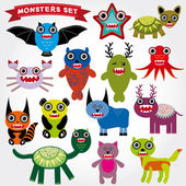 Cartoon Monsters Set. — Stock Vector