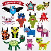 Cartoon Monsters Set. — Stock Vector