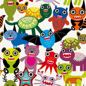 Cute cartoon Monsters pattern — Cтоковый вектор